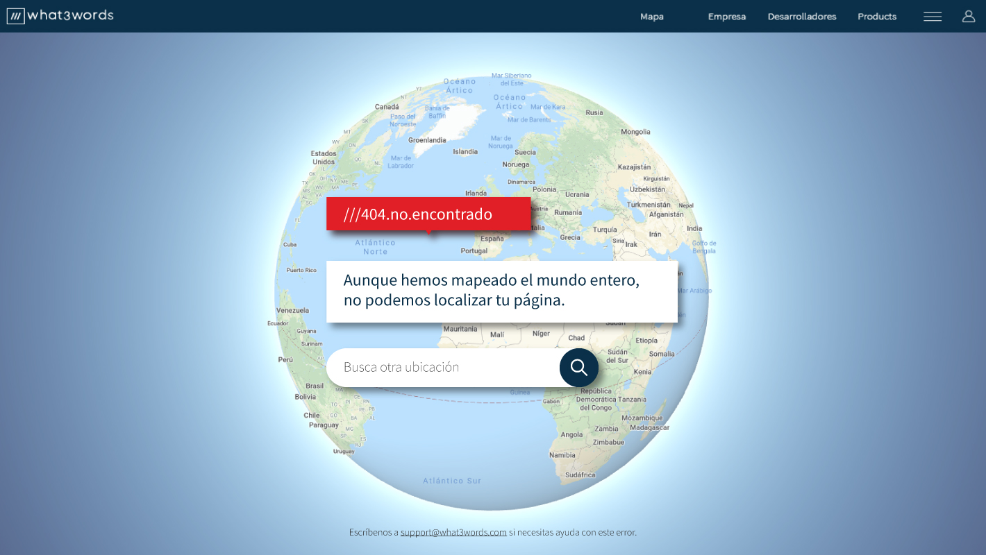 Propuesta de página 404 what3words